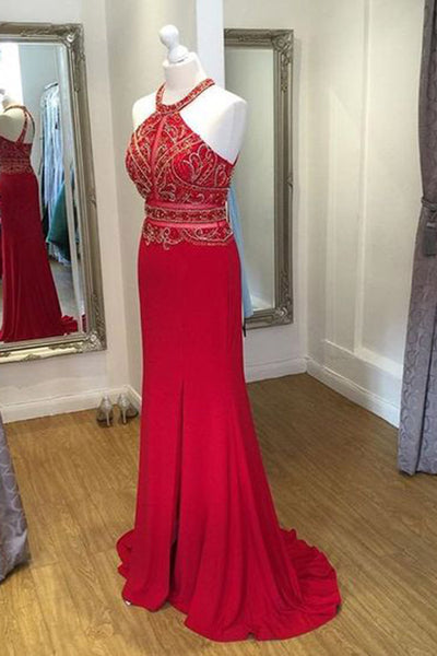 Sweet 16 Dresses | Red chiffon applique halter open back long evening dresses,formal dress
