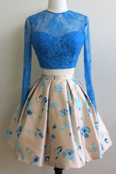 2019 Prom Dresses | Blue lace long sleeves two pieces O-neck see-through A-line short dresses,casual dresses