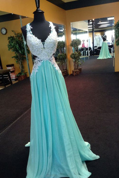 2019 Prom Dresses | Blue chiffon lace V-neck long prom dresses,elegant evening dresses