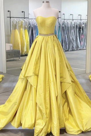 Yellow Satin Strapless Long A Line Beaded Prom Dress, Evening Dresses