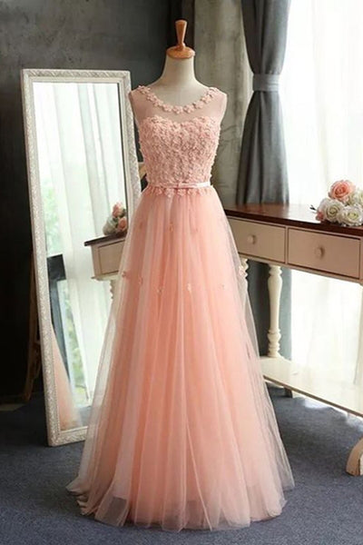 Prom 2020 | Peach pink tulle applique round see-through summer dresses, princess dresses