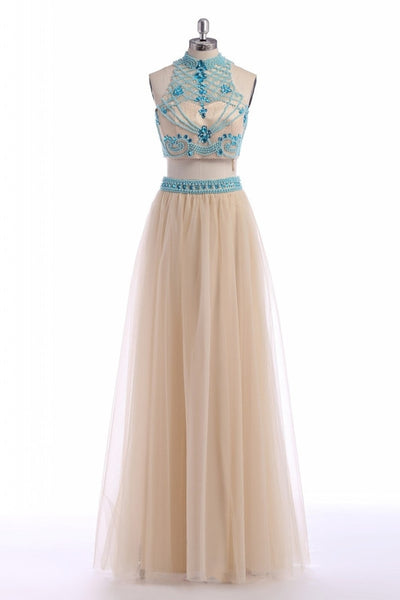 Champagne tulle unique beading two pieces sexy long A-line prom dresses,formal dress - occasion dresses by Sweetheartgirls