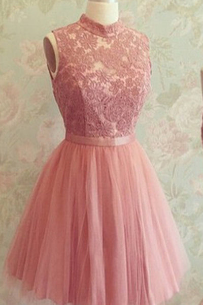 Pink tulle lace top A-line O-neck sleevless short dress,  see-through prom dress for teens - occasion dresses by Sweetheartgirls