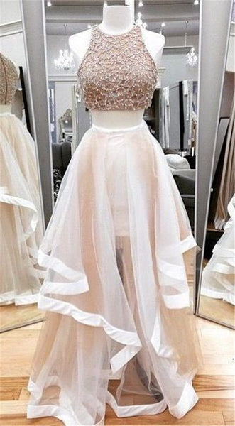 Prom 2020 | Ivory organza two pieces lace see-through A-line long evening dresses, gown dresses