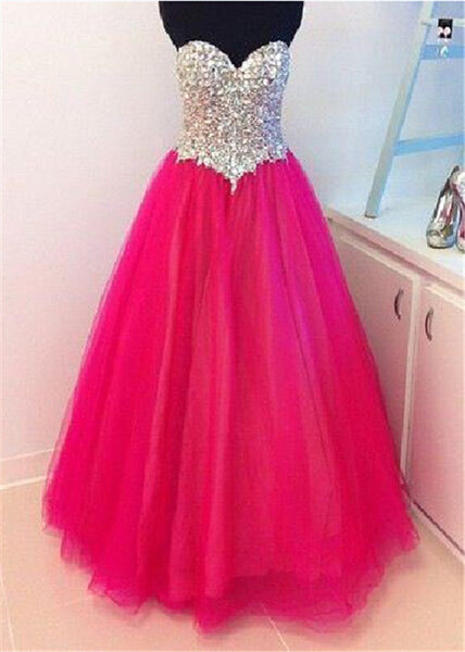 2018 evening gowns - Glamorous hot pink tulle sleeveless sweetheart sequins rhinestone A-line long dresses, long evening dress