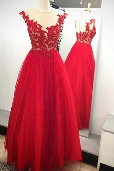Sweet 16 Dresses | Red  tulle lace top see-through applique A-line evening dress, formal dress for teens