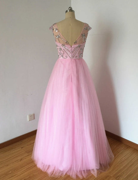 Prom 2020 | Elegant pink tulle  beading rhinestone see-through cap sleeves  A-line long dresses,  evening dress