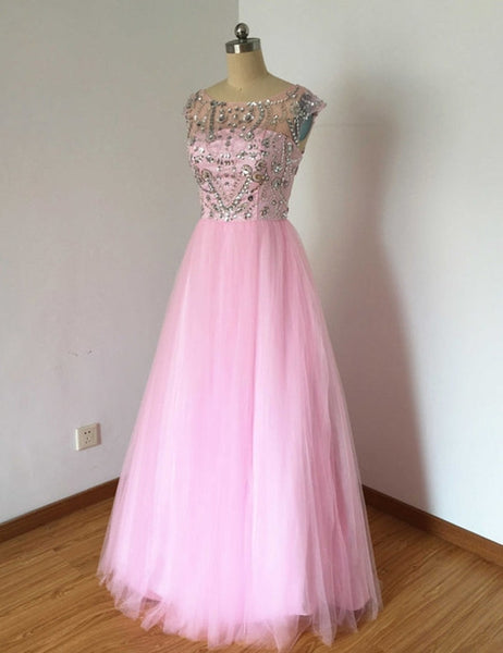 Elegant pink tulle  beading rhinestone see-through cap sleeves  A-line long dresses,  evening dress - occasion dresses by Sweetheartgirls