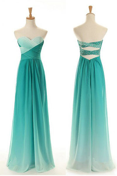 Turquoise chiffon sweetheart full-length prom dress for teens new design dresses - prom dresses 2018