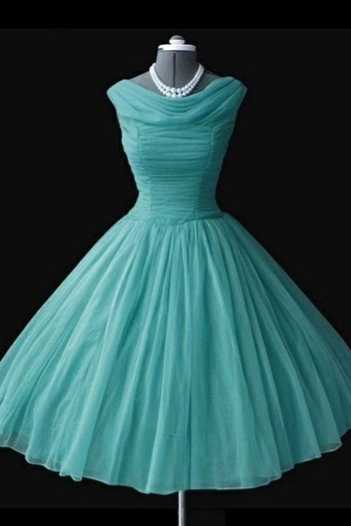 Sky blue chiffon round neck A-line short dress, 2017 new formal prom dress for teens - occasion dresses by Sweetheartgirls