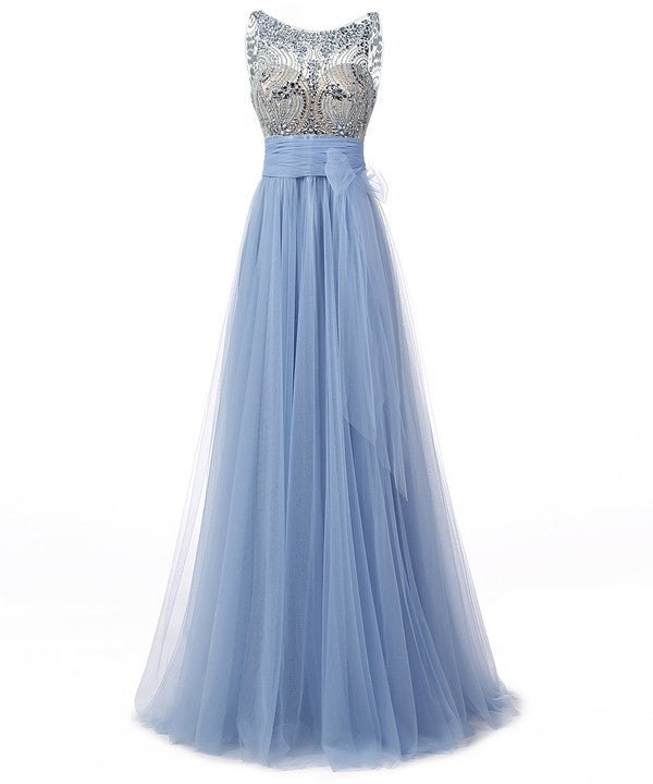 Prom 2020 | Sky blue tulle see-through rhinestone round neck backless A-line long evening dress ,graduation dress