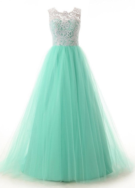Green tulle A-line lace  see-through O-neck bridesmaid  dresses, long prom dresses - Sweetheartgirls