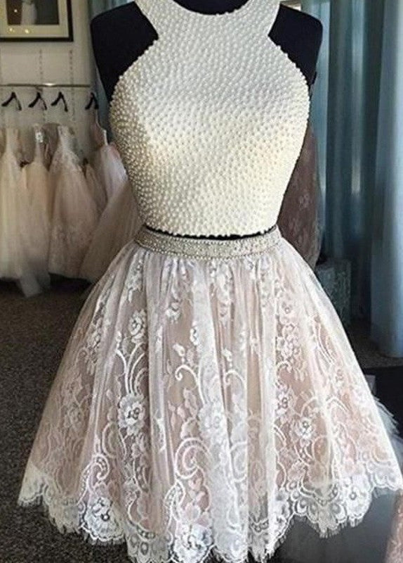 2018 evening gowns - White lace A-line halter cute beading short prom dress,bridesmaid dress