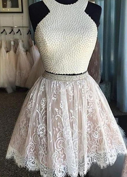 Prom 2020 | White lace A-line halter cute beading short prom dress,bridesmaid dress