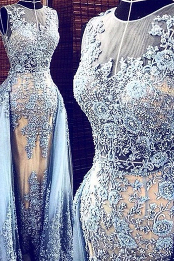 Gorgeous blue lace tulle see-through round long mermaid dresses,new evening dresses - Sweetheartgirls