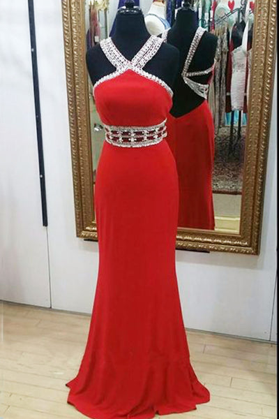 2018 evening gowns - Red chiffon beading halter long evening dresses,homecoming dress