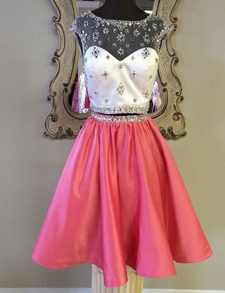 Peach satins two pieces see-through sequins beaded short prom dress,party dress - occasion dresses by Sweetheartgirls
