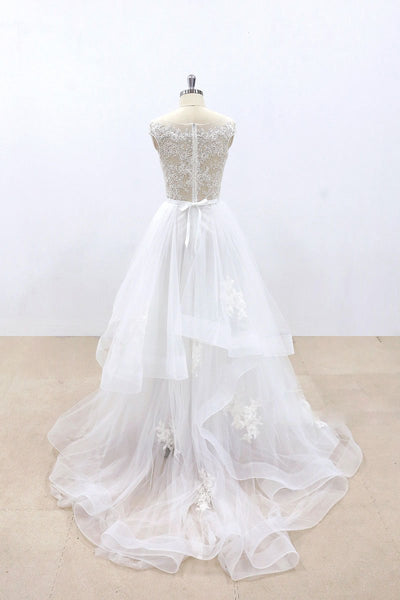 White Tulle Lace Round Neck Long A Line Prom Dress, Lace Wedding Dress
