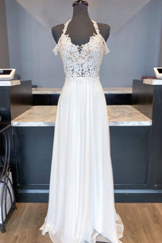 White Chiffon Lace Open Back Long A Line Prom Dress, Bridesmaid Dress 2021