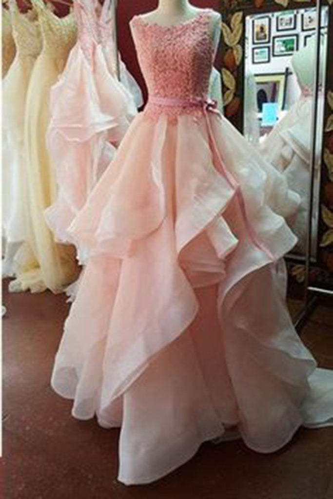Prom 2020 | Peach pink organza lace top layers open back  long ball gown dress, prom dresses