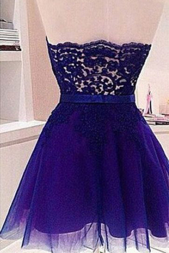 2406c7d033b ... 2018 evening gowns - Navy blue cute organza sweetheart lace short prom  dresses for teens ...