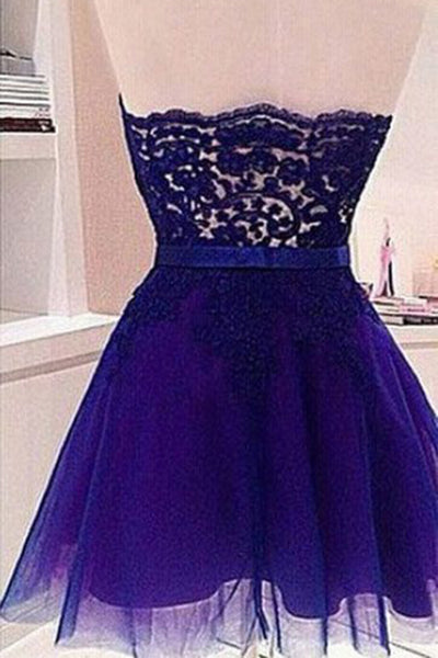 Navy blue cute organza sweetheart lace short prom dresses for teens ,mini party dresses - occasion dresses by Sweetheartgirls
