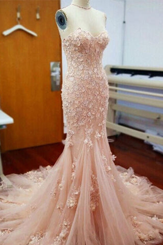 Apricot tulle applique lace sweetheart mermaid long prom dresses,graduation dresses - prom dresses 2018