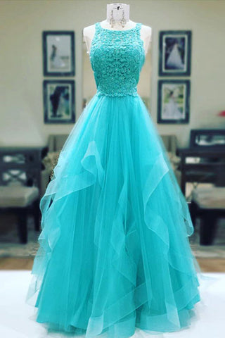 Turquoise tulle long lace prom dress, ruffles evening dress