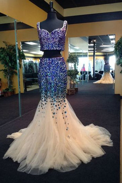 Prom 2020 | Blue sequins beading two pieces tulle long mermaid dresses,V-neck formal dresses