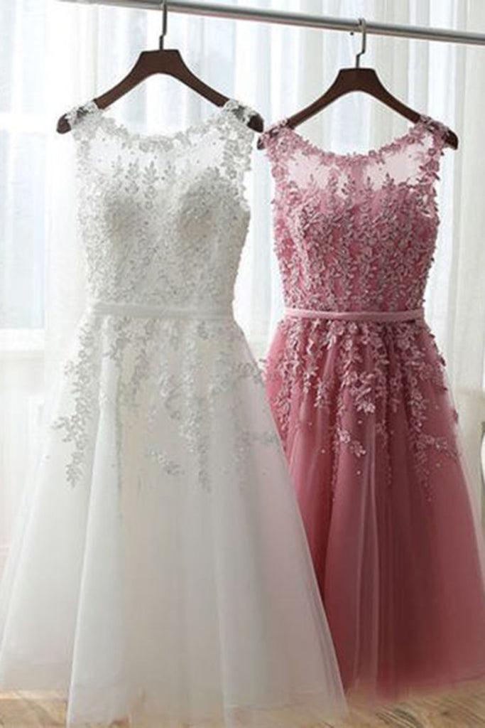 2018 evening gowns - Handmade flowers applique tulle lace see-through round neck short party dress , casual dresses