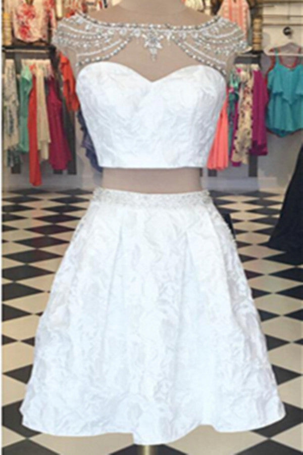 Sweet 16 Dresses | White two pieces lace see-through sequins short dresses, cute cheap dresses for teens
