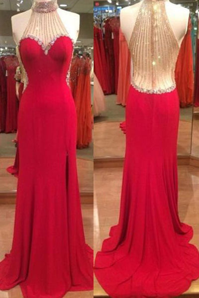 2018 evening gowns - Luxury red chiffon halter sequins see-through backless long dresses,formal dresses