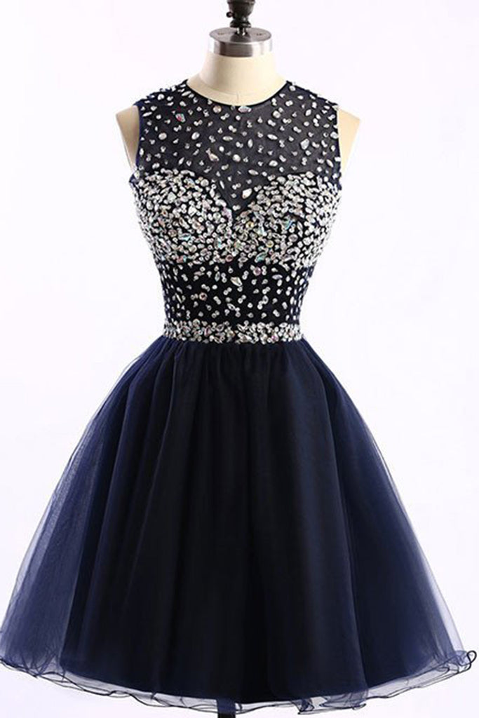 Sweet 16 Dresses | Dark tulle O-neck A-line simple short prom dresses for teens