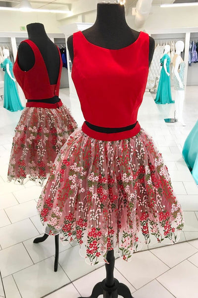 Red Flower Floral Tulle A Line Two Pieces Short Homecoming Dress, Prom Dress