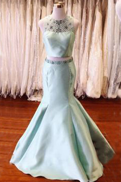 2018 evening gowns - Light blue satins two pieces sequins O-neck mermaid long dresses,formal dresses