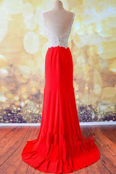 Red chiffon V neck sequins beading A-line slit long prom dresses ,shiningevening dress - prom dresses 2018