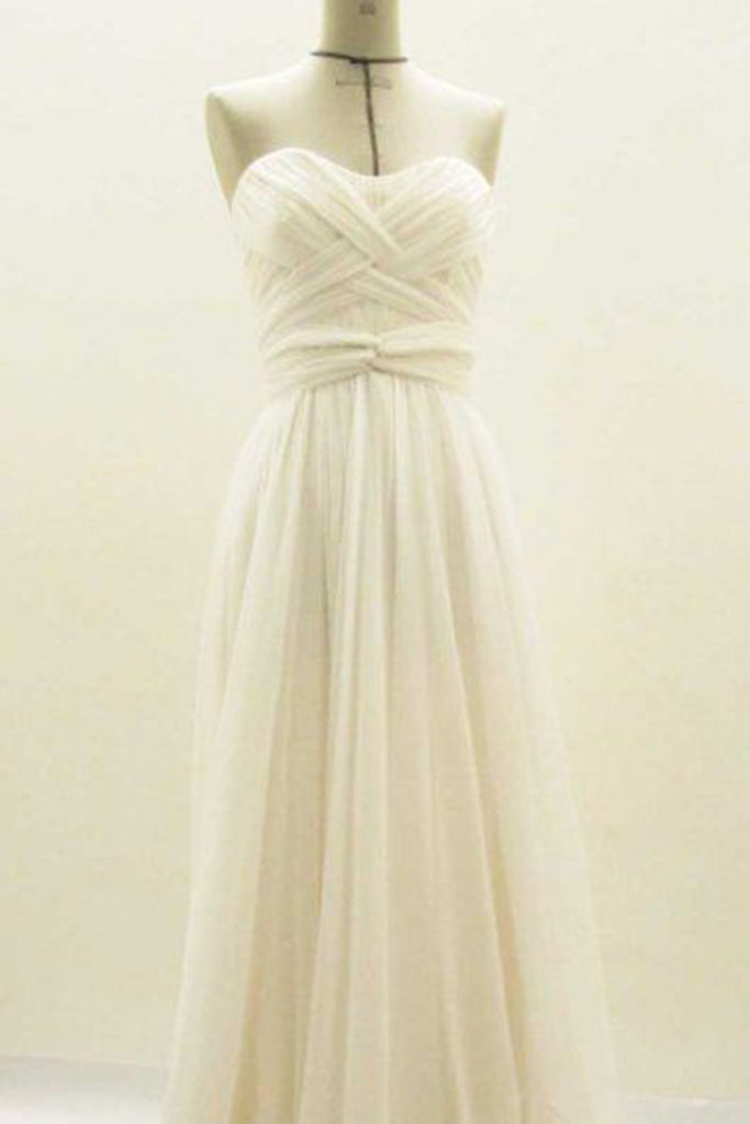 2018 evening gowns - Ivory chiffon sweetheart sleeveless A-line long dresses,simple dresses for teens