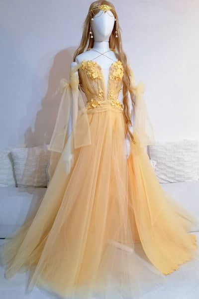 Yellow Tulle V Neck Spaghetti Straps Long Lace Up Sweet 16 Prom Dress, Graduation Dress, Teenager Party Dress