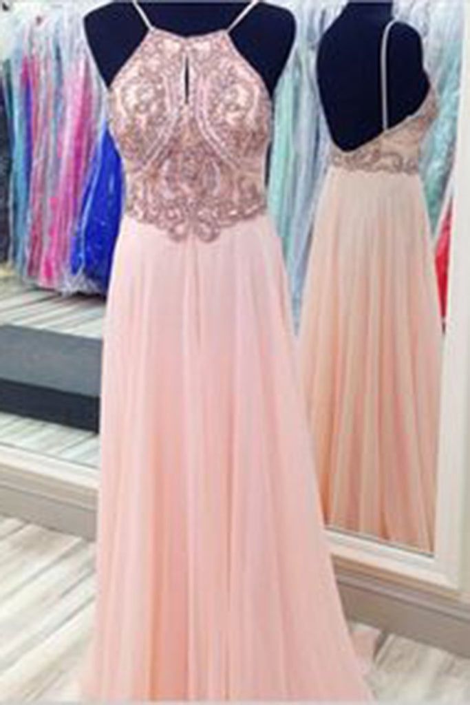 Prom 2020 | Elegant pink chiffon sequins beaded halter long prom dresses open back evening dress with spaghetti straps