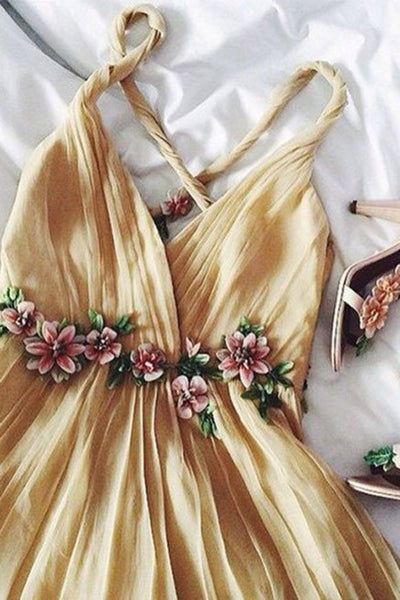 Sweet 16 Dresses | Elegant champagne chiffon handmade flowers V-neck prom dress,simple dress with straps