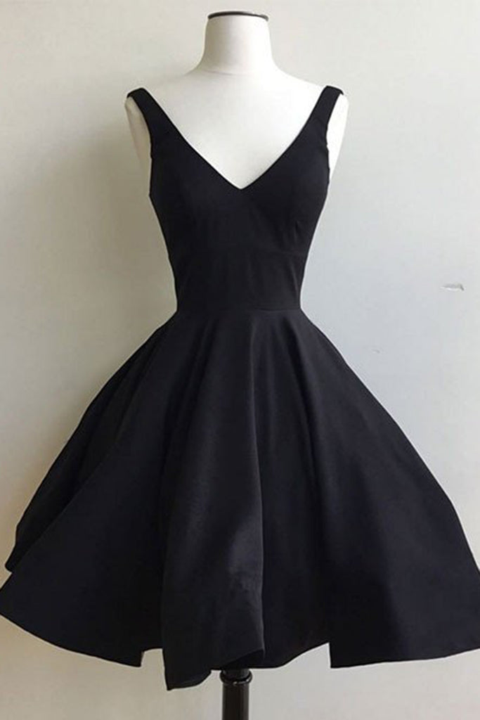 Simple black chiffon V-neck A-line short prom dress,simple dress with straps - occasion dresses by Sweetheartgirls