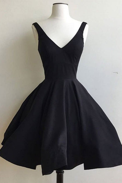 Simple black chiffon V-neck A-line short prom dress,simple dress with straps - prom dresses 2018