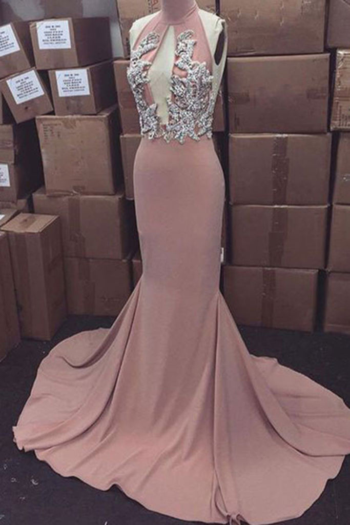 Sweet 16 Dresses | Elegant chiffon halter high neck applique sequins backless mermaid dresses,floor-length