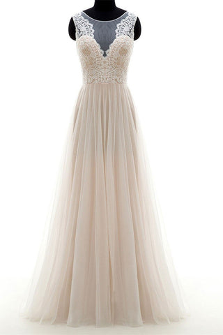 Light Champagne Tulle Long Lace Round Neck A Line Custom-size Prom Dress Evening Dress