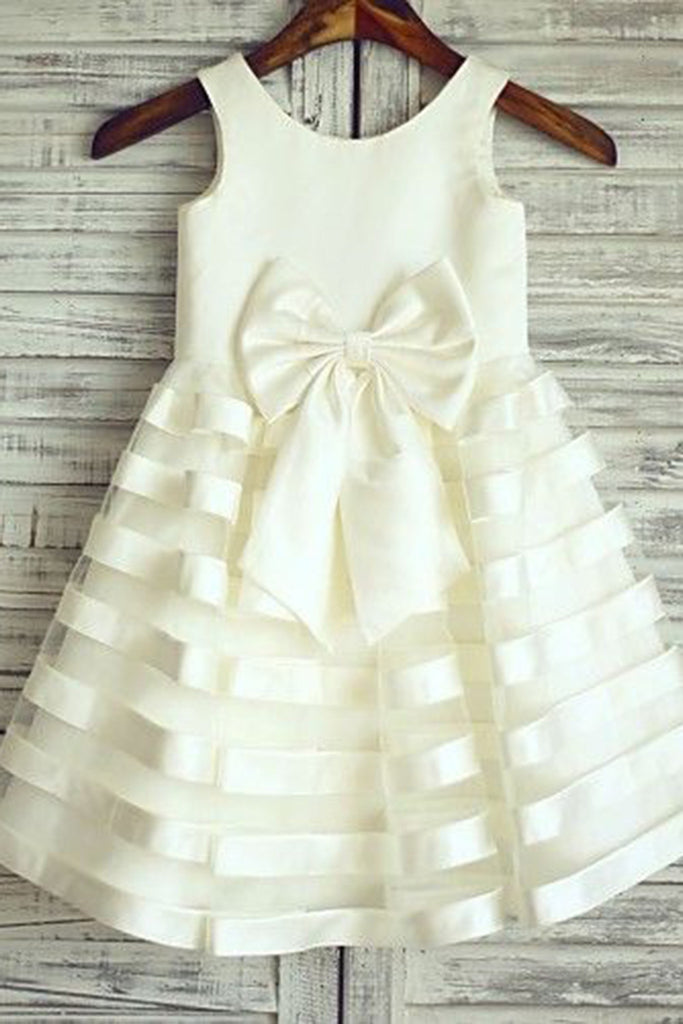 Cute white organza O-neck bowknot A-line girls dresses - occasion dresses by Sweetheartgirls