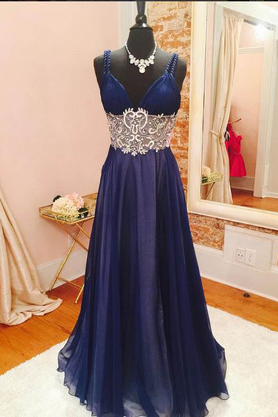 Dark blue chiffon lace beading V-neck long prom dresses, evening dresses - occasion dresses by Sweetheartgirls