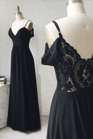 Simple Black Chiffon Lace V Neck Long Prom Dress, Evening Dress