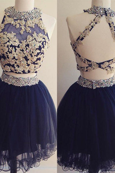 Sweet 16 Dresses | Dark blue organza two pieces beading applique halter A-line short prom dresses for teens