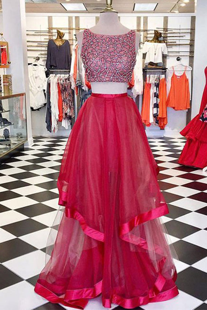 2019 Prom Dresses | Beautiful rosy red tulle two pieces round A-line long prom dresses for teens with straps
