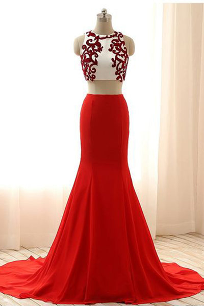 Luxury red chiffon two pieces applique round neck mermaid long dress formal dresses - prom dresses 2018